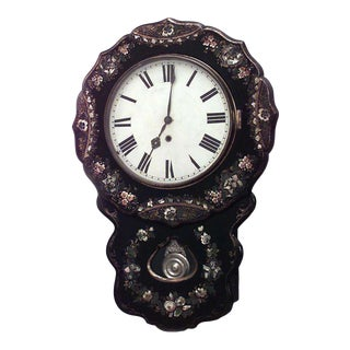 English Victorian Papier Mache Wall Clock For Sale