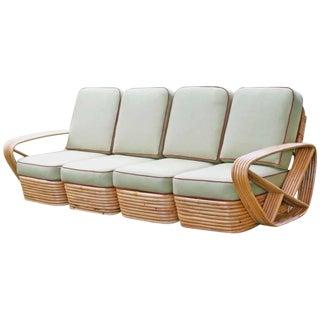 Restored Square Pretzel Rattan Four-Seat Sofa by Paul Frankl For Sale