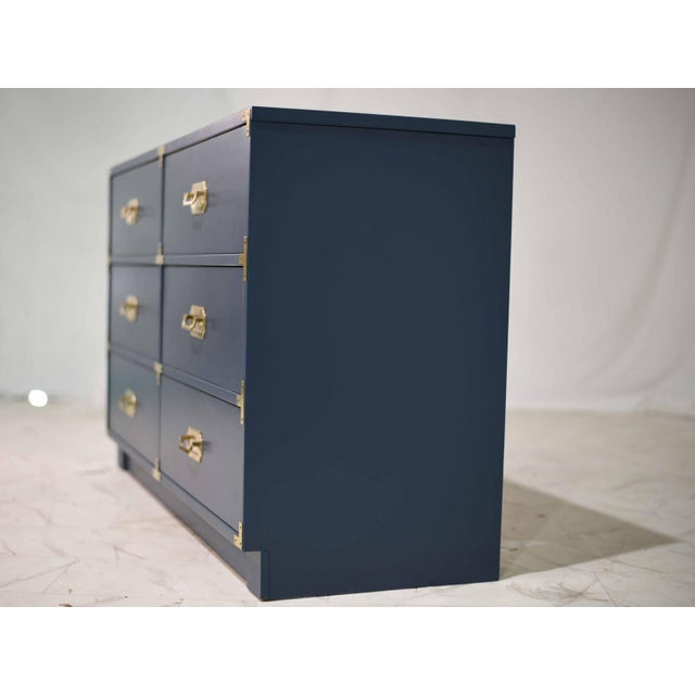 1970s Blue Six Drawer Campaign Dresser or Chest - Newly Painted For Sale - Image 11 of 12