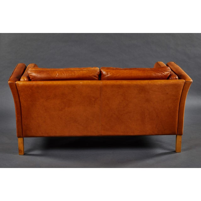 A Rich Leather Scandinavian Settee For Sale - Image 4 of 7