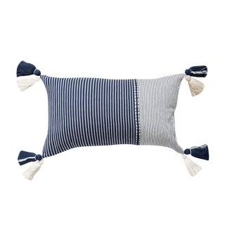 Indigo Striped Guatemalan Pillow