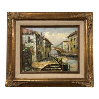European Canal Oil Painting by Sails