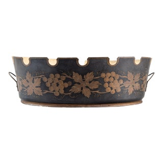 Antique French Black and Gilt Tole Jardiniere Cache Pot For Sale