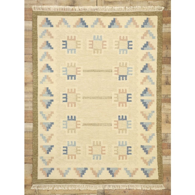 Textile Vintage Scandinavian Modern Style Swedish Kilim Rug - 5'8 X 7'7 For Sale - Image 7 of 9