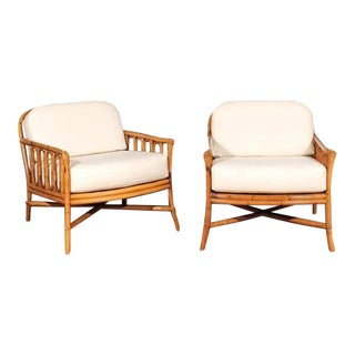 Decorative Pair of Restored Vintage Ficks Reed Loungers For Sale