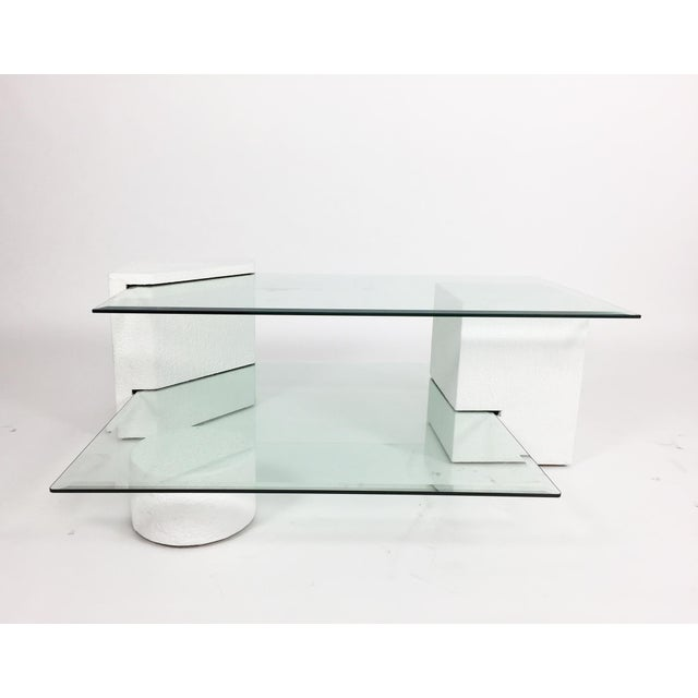 Brutalist 1980s Post-Modern Geometric Multi-Tiered Coffee Table For Sale - Image 3 of 8