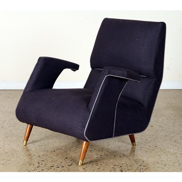 Mid-Century Modern A Pair of George Jetson Style Upholstered Club Chairs For Sale - Image 3 of 7