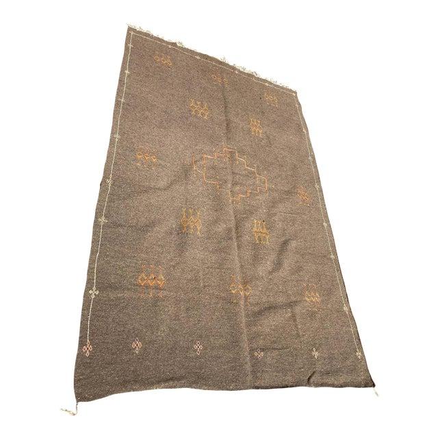 Moroccan Vintage Flat-Weave Brown Rug For Sale