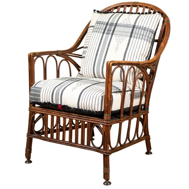 1920s American Bent Wood Chair With Injiri Upholstery For Sale - Image 9 of 9