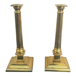 Magnificent Golden Modern Mid Century Hollywood Regency Candlesticks - a Pair For Sale