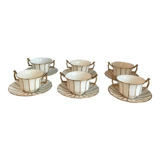 Antique English Art Deco Pot De Creme or Soup Cups & Saucers - Set of 6 For Sale