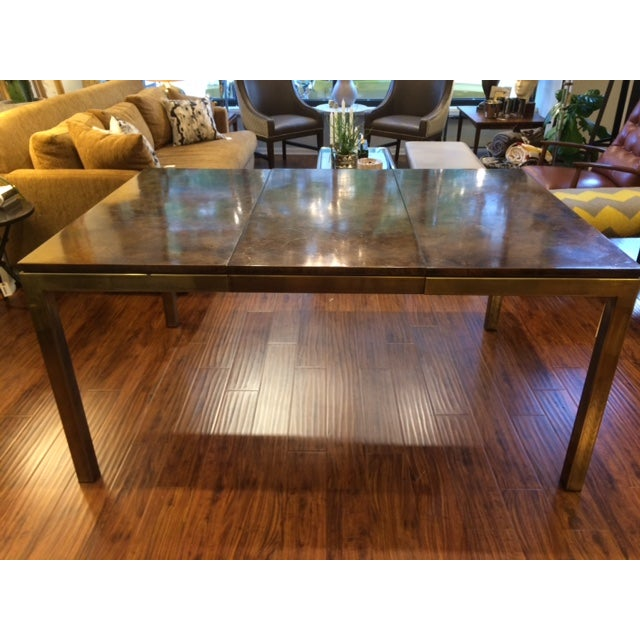 Modern Brass & Burlwood Parson Dining Table - Image 2 of 6