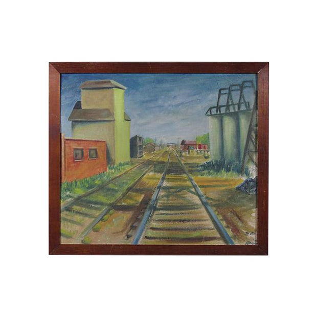 "Early 20th Century ""Railroad Tracks"" Oil Painting - Image 1 of 5"