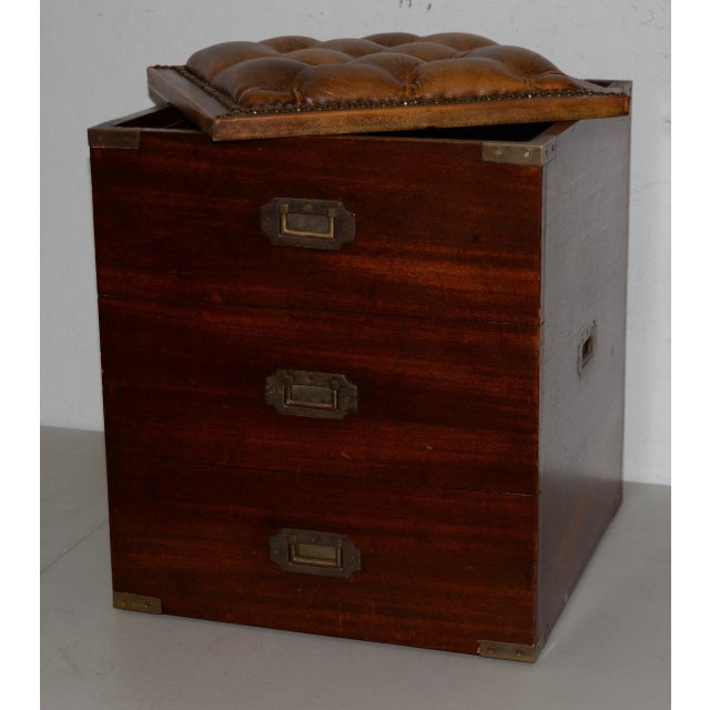 19th Century Mahogany Campaign Storage Chest w/ Tufted Leather Seat Great for a stool or ottoman. Fine mahogany chest w/...