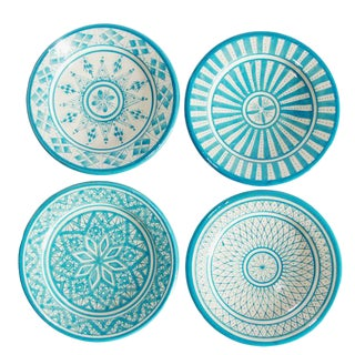 Safi Appetizer Plate, Set of 4 Turquoise For Sale
