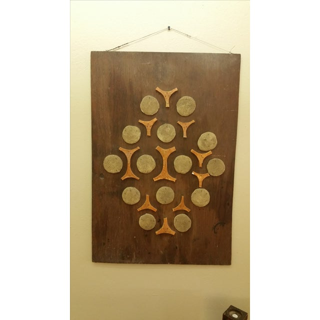 Cement & Ceramic Collage Wooden Wall Hanging - Image 2 of 6