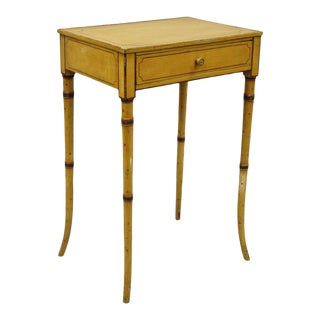19th Century Victorian Faux Bamboo One Drawer Side Table For Sale
