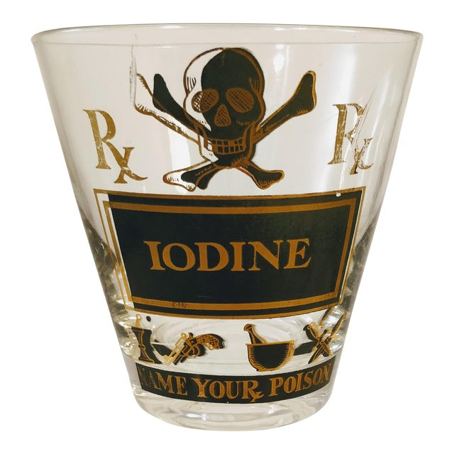 Georges Briard Pick Your Poison Iodine Glass Tumbler Cocktail For Sale