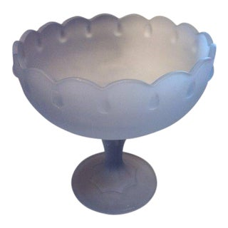 Indiana Glass Mid Century Tall Teardrop Frosted Blue Pedestal Candy Dish Compote For Sale