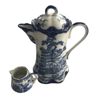 Chinoiserie Blue & White Teapot & Creamer For Sale