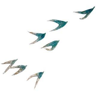 Flight of Aquamarine Birds Contemporary Blown Glass Modern Art Wall Sculpture For Sale