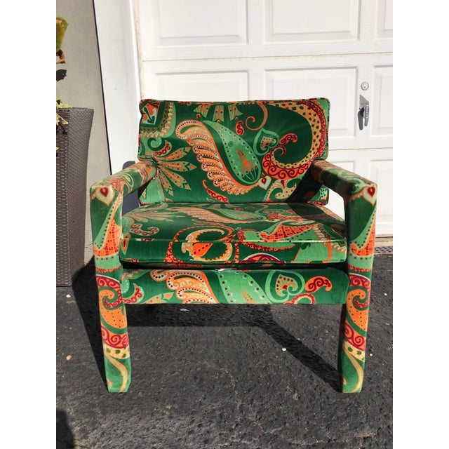 1980s Vintage Velvet Paisley Parsons Chair For Sale - Image 11 of 11