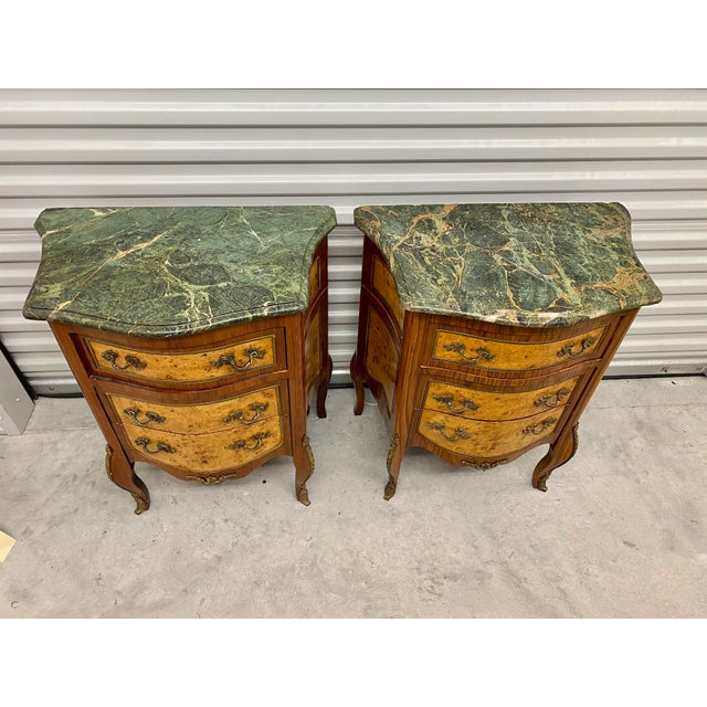 Vintage French Marble Top Nightstands - a Pair For Sale - Image 4 of 12