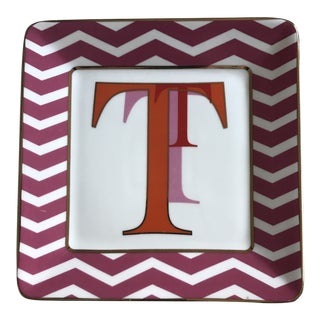"""Red and Orange Ceramic Desk Catchall Square Letter """"T"""" Tray For Sale"""