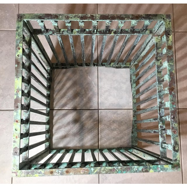 Vintage Square Bronze and Brass Coffee Table For Sale In Miami - Image 6 of 13