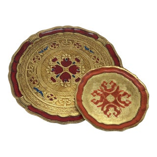Set of 2 Italian Florentine Serving Trays - Pair of 2 For Sale