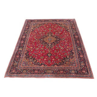 Early 19th Century Burgundy & Wine Kashmar Rug- 9′11″ × 12′8″ For Sale