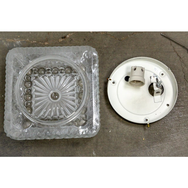1970s Clear & Frosted Glass Diamond / Square Flush Mount With Circle Motif For Sale - Image 9 of 11