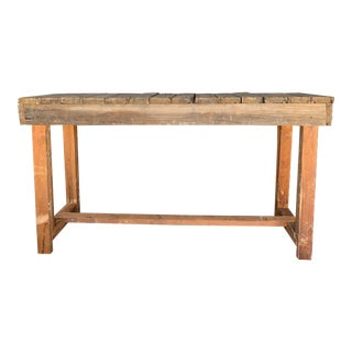 Industrial Custom Made Wood Console Table For Sale