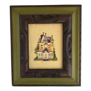 Vintage Framed Embroidered House For Sale
