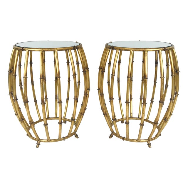 Pair of Gold Faux Bamboo Drum Side Tables With Mirrored Tops For Sale