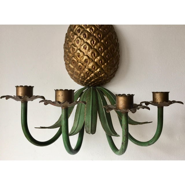 Italian Italian Tole Painted Pineapple Candle Sconce For Sale - Image 3 of 7
