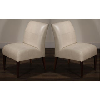 White and Gold Speck Shagreen Leather Side Chairs by Fendi Casa Preview
