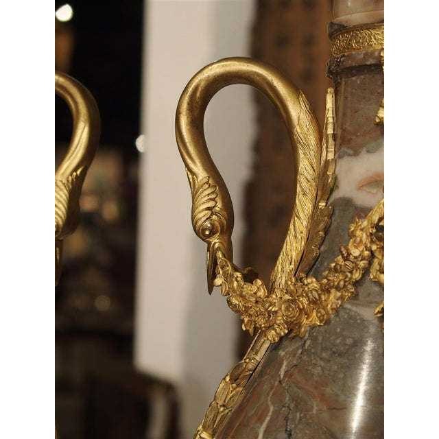 Louis XVI Pair of Circa 1860 Gilt Bronze and Marble Cassolettes from France For Sale - Image 3 of 11