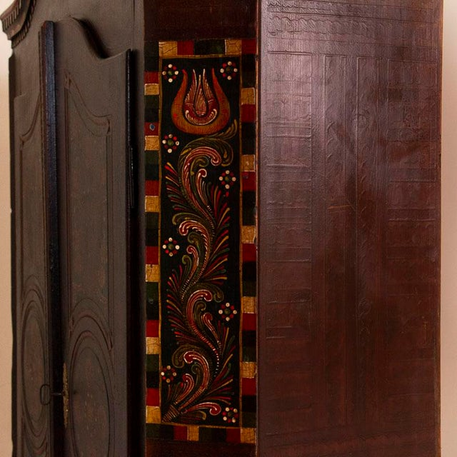 Antique 2 Door Hungarian Armoire With Original Folk Art Paint For Sale - Image 11 of 13