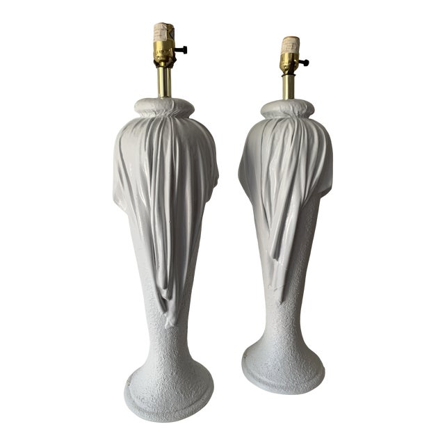 1980s Plaster Draped Table Lamps in the Manner of John Dickenson - a Pair For Sale