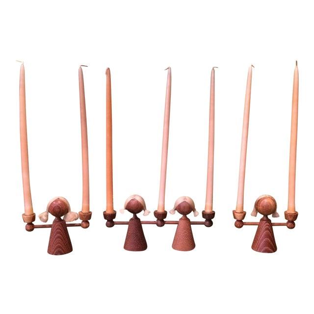 Danish Modern Teak Girl Candle Holders - S/3 - Image 1 of 6