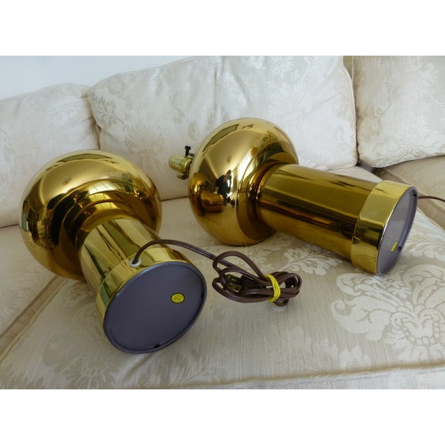 Mid-Century Modernist & Sculptural Brass Ball Lamps - a Pair For Sale In Seattle - Image 6 of 10
