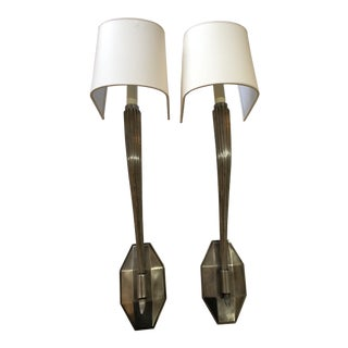 E. F. Chapman Antique Nickel Single Wall Sconces - A Pair For Sale