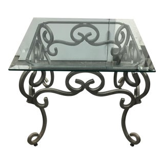 Ornate Iron Base With Glass Top Coffe Side Table