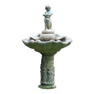 Pre-1963 Vintage Henri Studios Stone Cherub Estate Fountain For Sale