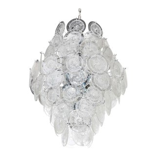 Large 84 Murano Glass Disc Vistosi Chandelier For Sale