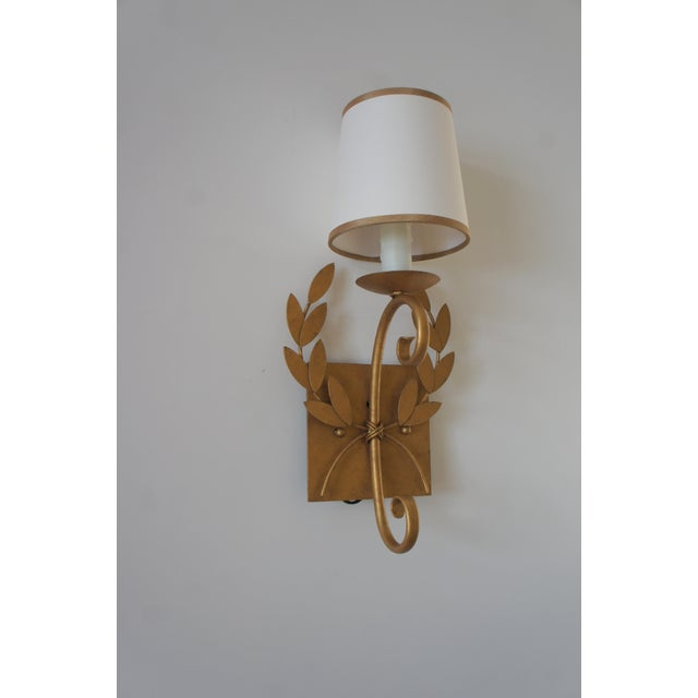 Julie Neill Gilt Metal Wreath Sconce For Sale In Washington DC - Image 6 of 11