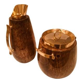Aldo Tura Coffee Carafe & Ice Bucket Set - A Pair