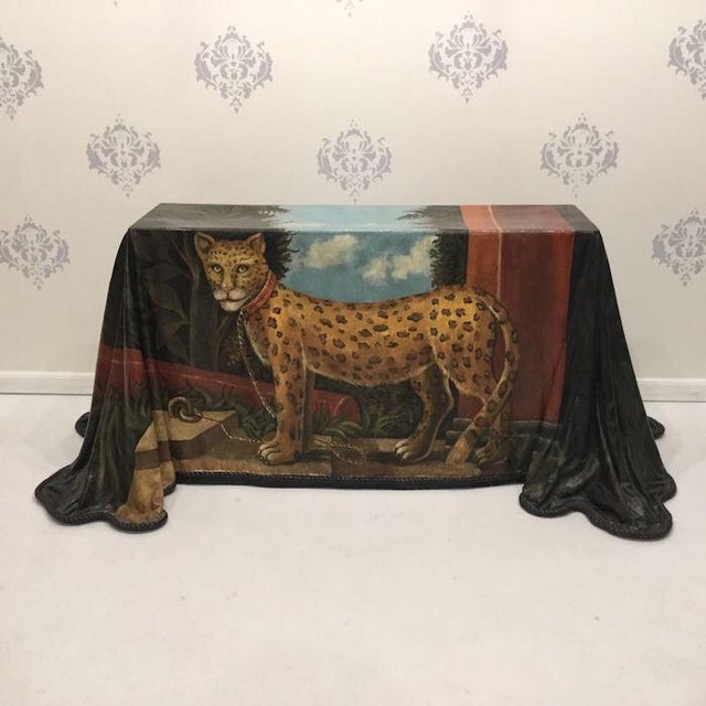 1980s Realism Draped Leopard Painting Console Table For Sale - Image 11 of 11