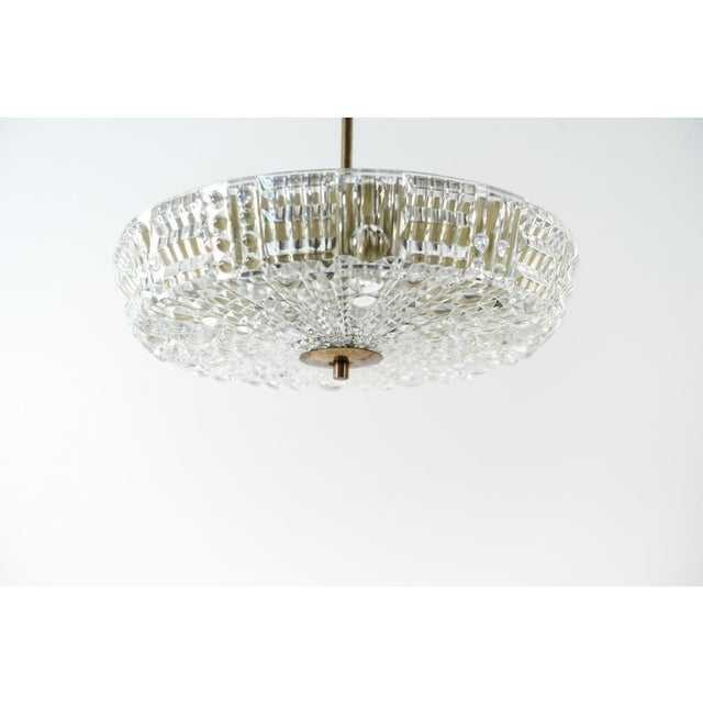 Mid-Century Modern Mid Century Modern Carl Fagerlund for Orrefors Glass and Brass Pendant Light For Sale - Image 3 of 8
